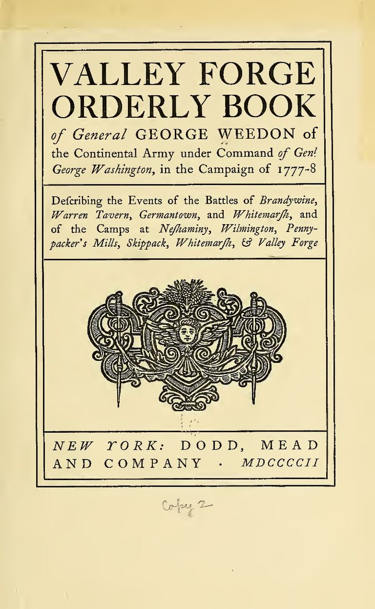 Valley Forge Orderly Book Of Generals  American Revolution
