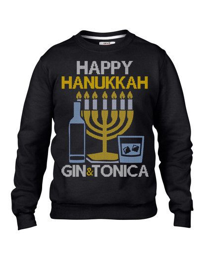 Ugly Sweater Contest, Happy Hanukkah Gin and Tonica Ugly Hanukkah Sweatshirt, Hanukkah Sweater, Jewish Hanukkah Sweatshirt
