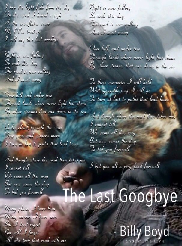 The Last Goodbye - Billy Boyd sorry it's hard to read
