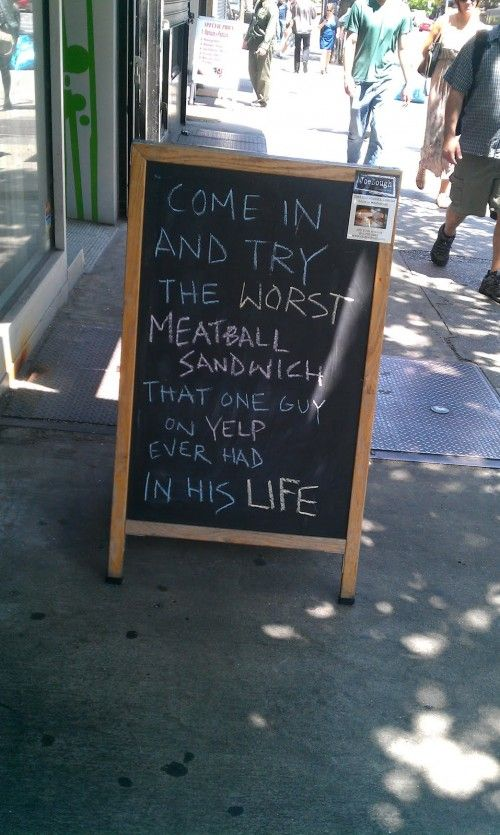 There's No Such Thing as Bad Publicity: Restaurant Signs, That One Guys, Funny Signs, Social Media, Funny Commercial, Meatballs Sandwiches, Chalkboards Signs, Humor, Socialmedia