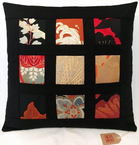 Vintage Japanese Obi Silk Patchwork Cushion Cover  45cm by Setsuri