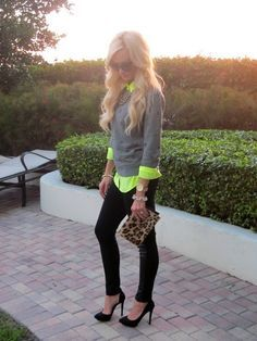 Neon shirt work casual street fashion style black denim heels cute chic leopard clutch grey pullover