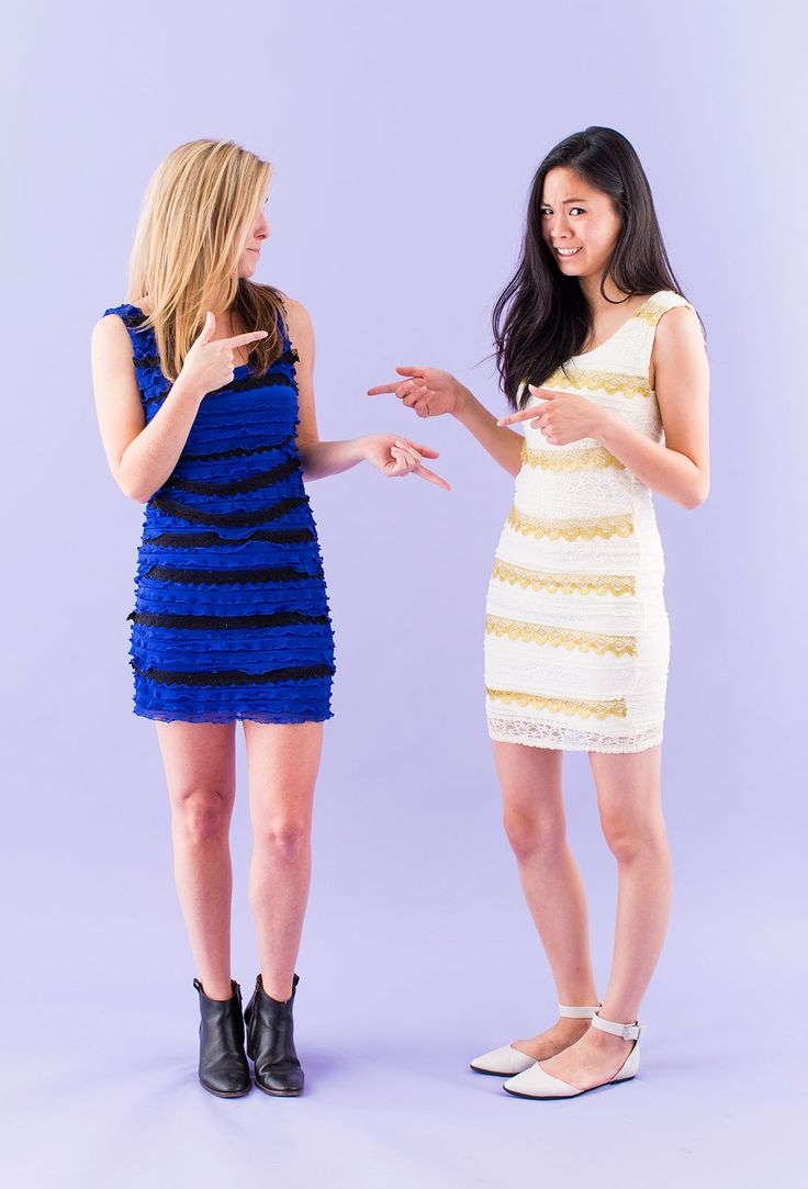 Grab your bestie and make these fun #thedress costumes for Halloween.