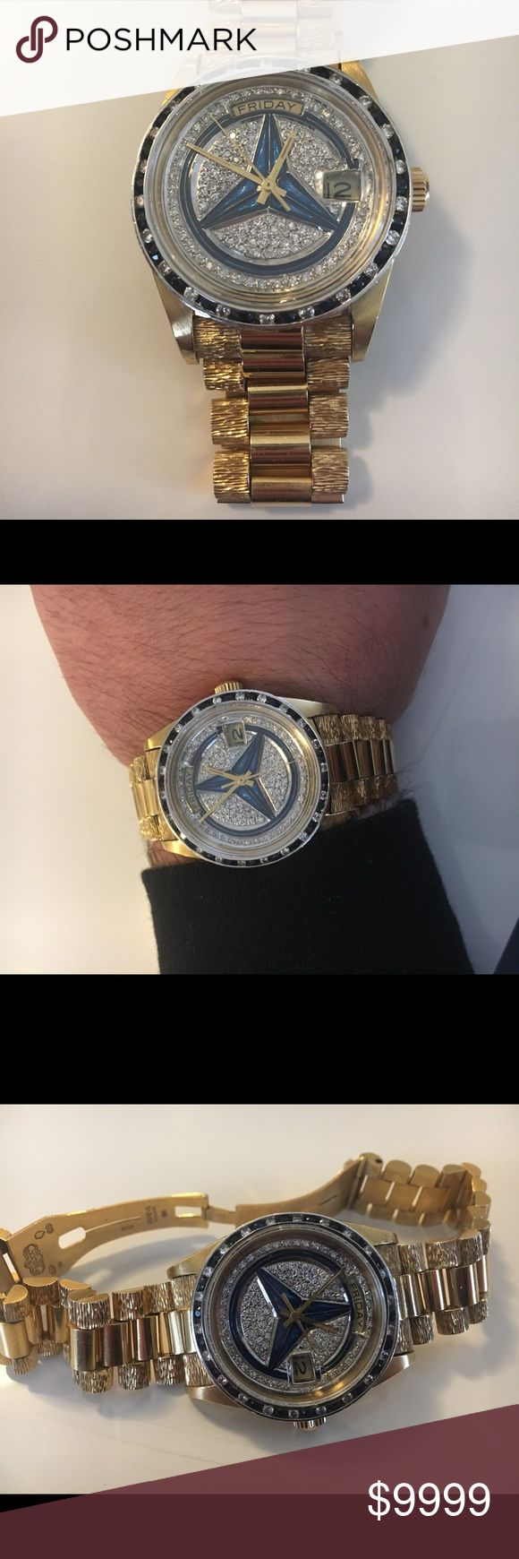 Rolex president custom made 18k gold Custom made Rolex president with diamonds and sapphire Mercedes Benz logo truly one of a kind. 100% real Rolex not a fake have service records for cleaning and repair at Rolex retailer. Serious buyer only ! No trades and please no ridiculous offers ty rolex Accessories Watches