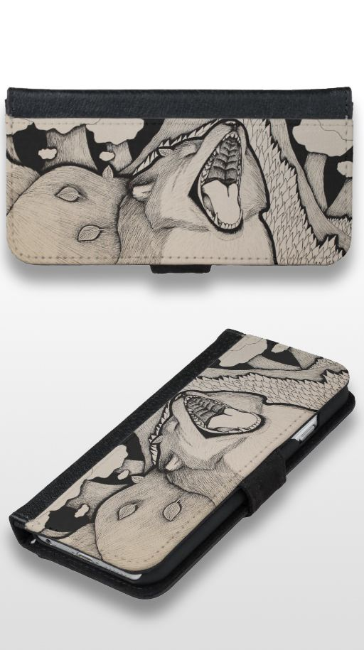 """Crybaby"" Black and White Illustrated Fox Wallet Phone Case"