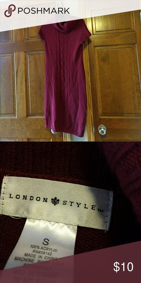 London Style Burgundy Sweater Dress Size Small London Style Dresses Midi