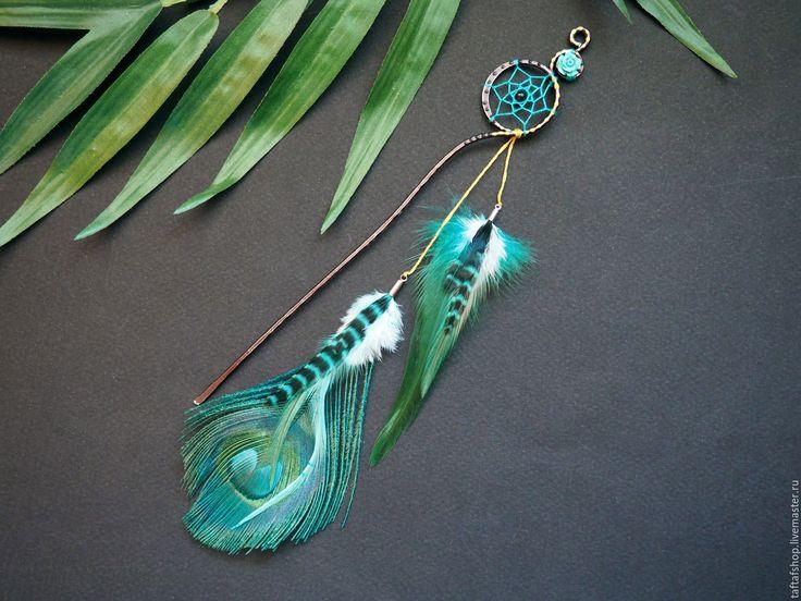 Купить Шпилька для волос, с перьями - Морской цветок, тёмно-бирюзовый - перо, перья, перья в волосы