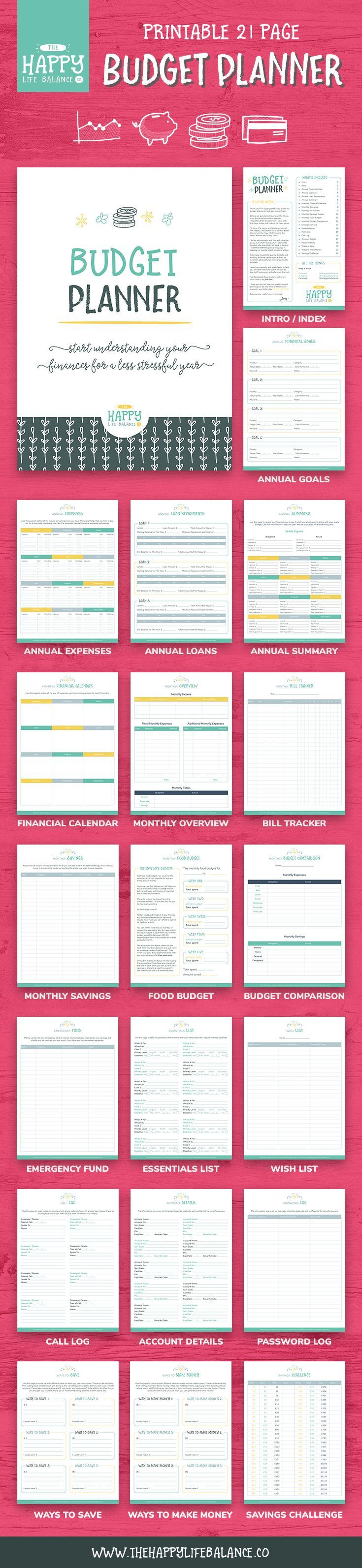 Start understanding your finances with this 21-page budget planner. Packed full of handy worksheets, trackers and systems to help you plan effective goals and budget your home finances for the year ahead. This printable budget will allow you to keep track of your income, bills, expenses, debt, savings and more! Organising your money can be hard, but it doesn't need to be stressful as well, this planner will help you prioritise and share your money out accordingly.