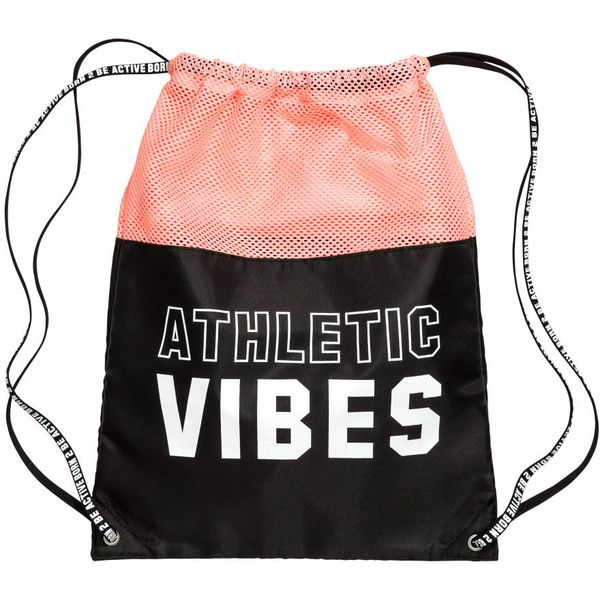 Gym Bag $12.99 ($13) ❤ liked on Polyvore featuring bags, accessories, shoulder strap handbags, mesh gym bag, draw string backpack, mesh bag and mesh backpack