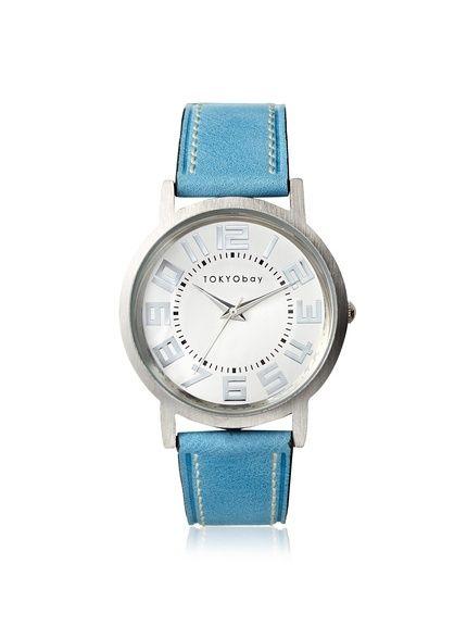 TOKYObay Women's T135-BL Platform Blue/White Brass-Plated Watch at MYHABIT