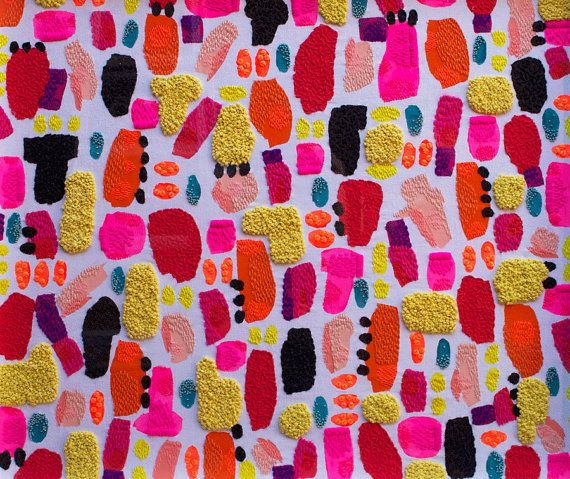 Hand painted textile fabric artwork, hand embroidered in thread, wool, beads and sequins