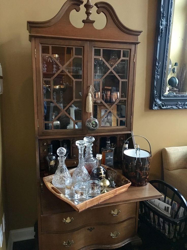 Antique Secretary desk... Used it as a living room BAR