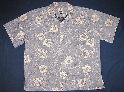 TORI RICHARD Shirt HAWAIIAN Size 3XL Cotton VINTAGE Reverse Print HIBISCUS