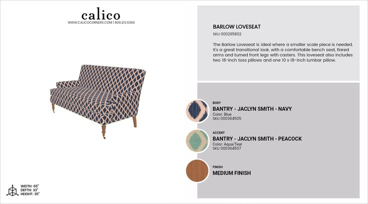 Barlow Loveseat in Bantry - Jaclyn Smith - Navy with an accent of Bantry - Jaclyn Smith - Peacock in Medium Finish