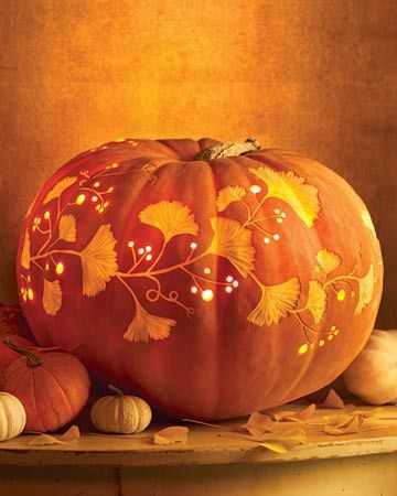 Ginko leaves and points of light on a fall pumpkin, a great solution for Thanksgiving or non-Halloween fall party decorating.Holiday, Fall Pumpkin, Carved Pumpkin, Ideas, Autumn, Halloween Pumpkin, Pumpkin Carvings, Martha Stewart, Carvings Pumpkin