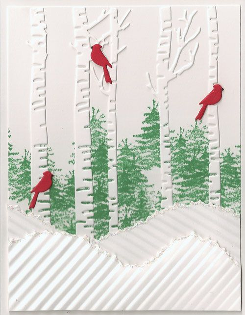 pine tree stamp in background.  Memory box birch tree with cardinals and snow.  Could be very pretty
