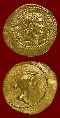 40BC- Rival Roman triumvirs Mark Antony & Octavian Caesar come to a truce, with Antony marrying Octavian's sister Octavia. She is featured on coins celebrating the truce, the first clearly identifiable living woman to appear on official Roman coinage in her own right.