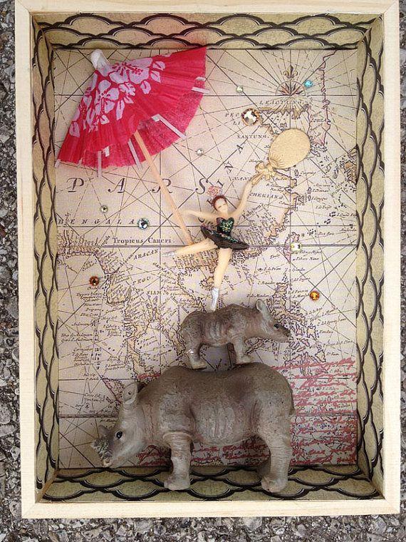 "Mixed Media 3D Collage Box ""Rhinos Make Loyal Friends"" @BombshellKittens, $39.50"
