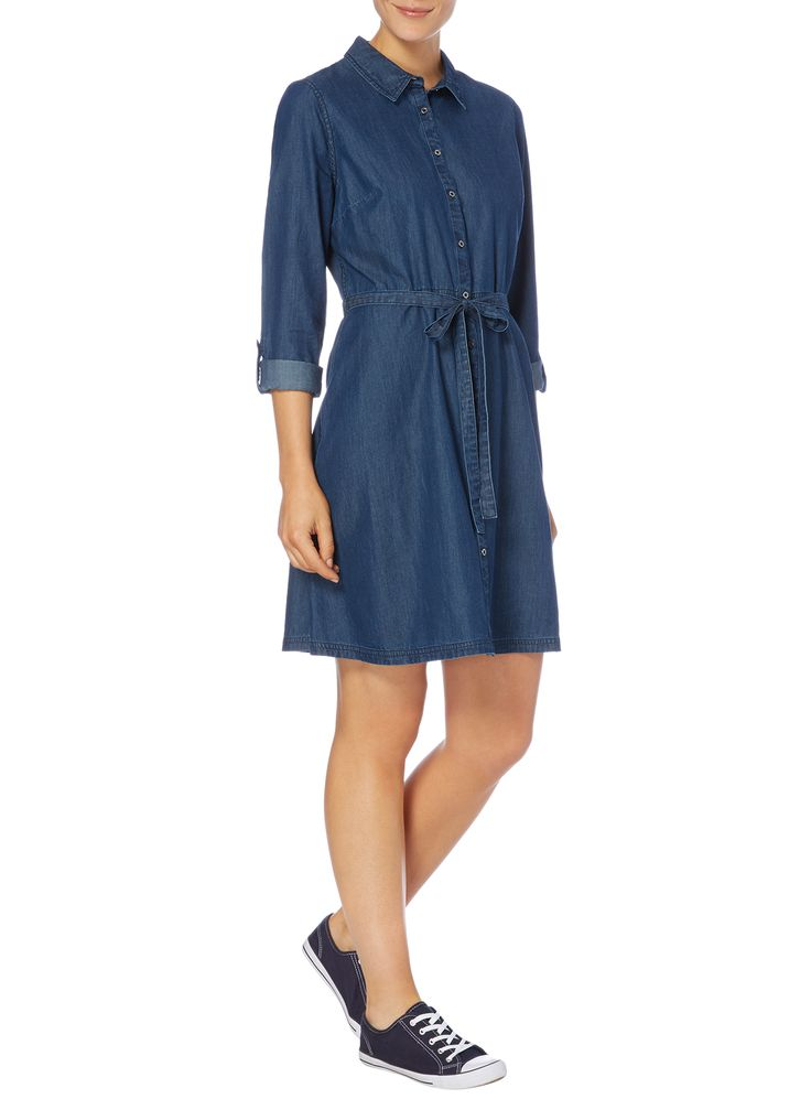 This denim dress will add easy glamour to everyday looks. Designed with roll tab…
