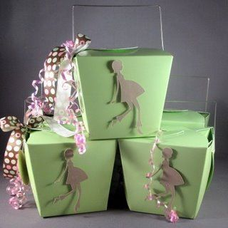 If you have a cricuit machine (or know someone who does) you can make these darling favors out of take-out boxes I found from Cinnamonspice.
