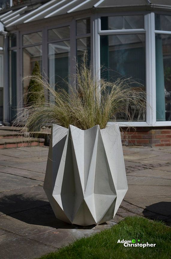 Items Similar To Kronen Large Origami Warm Grey Concrete Designer Planter On Etsy