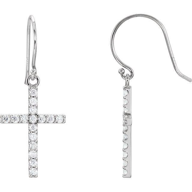 1/2 CTW Diamond Cross Earrings - 14K White Gold