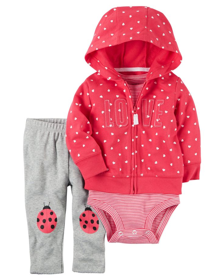 Carter's Baby Girls Cardigan Sets 121h247, Red, 12 Months Baby