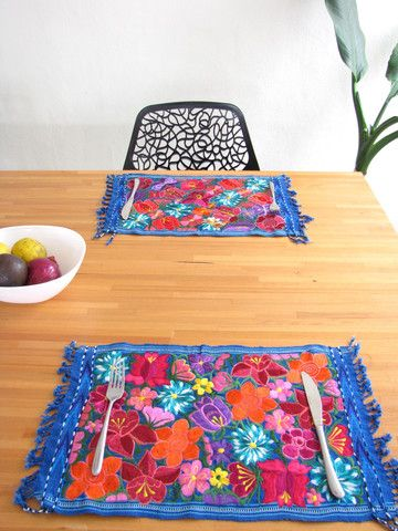 Embroidered Mexican Placemats | Blue | Set of 4 | Chiapas Bazaar | Handmade Mexican Blouses, Accessories & Home Decor from Rural Artisans
