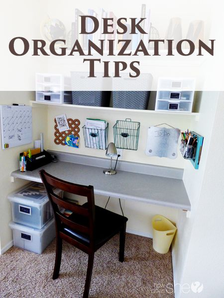 Desk Organization Tips - I'm loving these tips... my desk needs help and these ideas are perfect!!