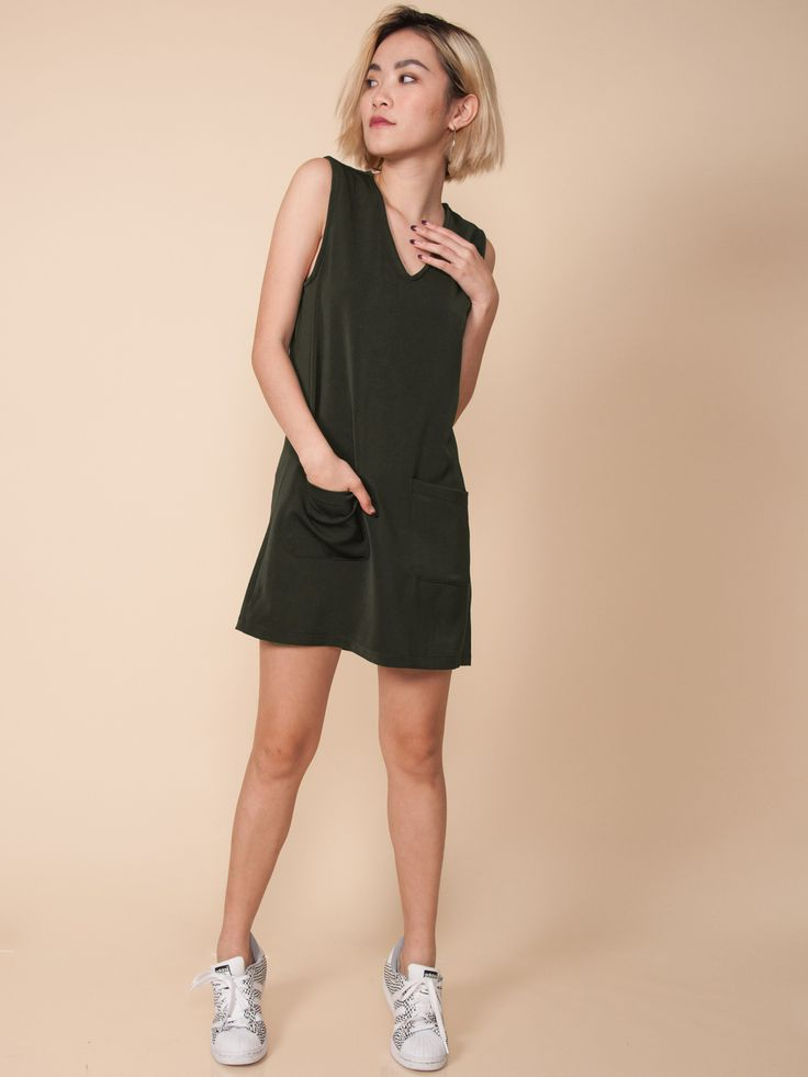 BLAIR V-Neck Pocket Dress (Olive Green)