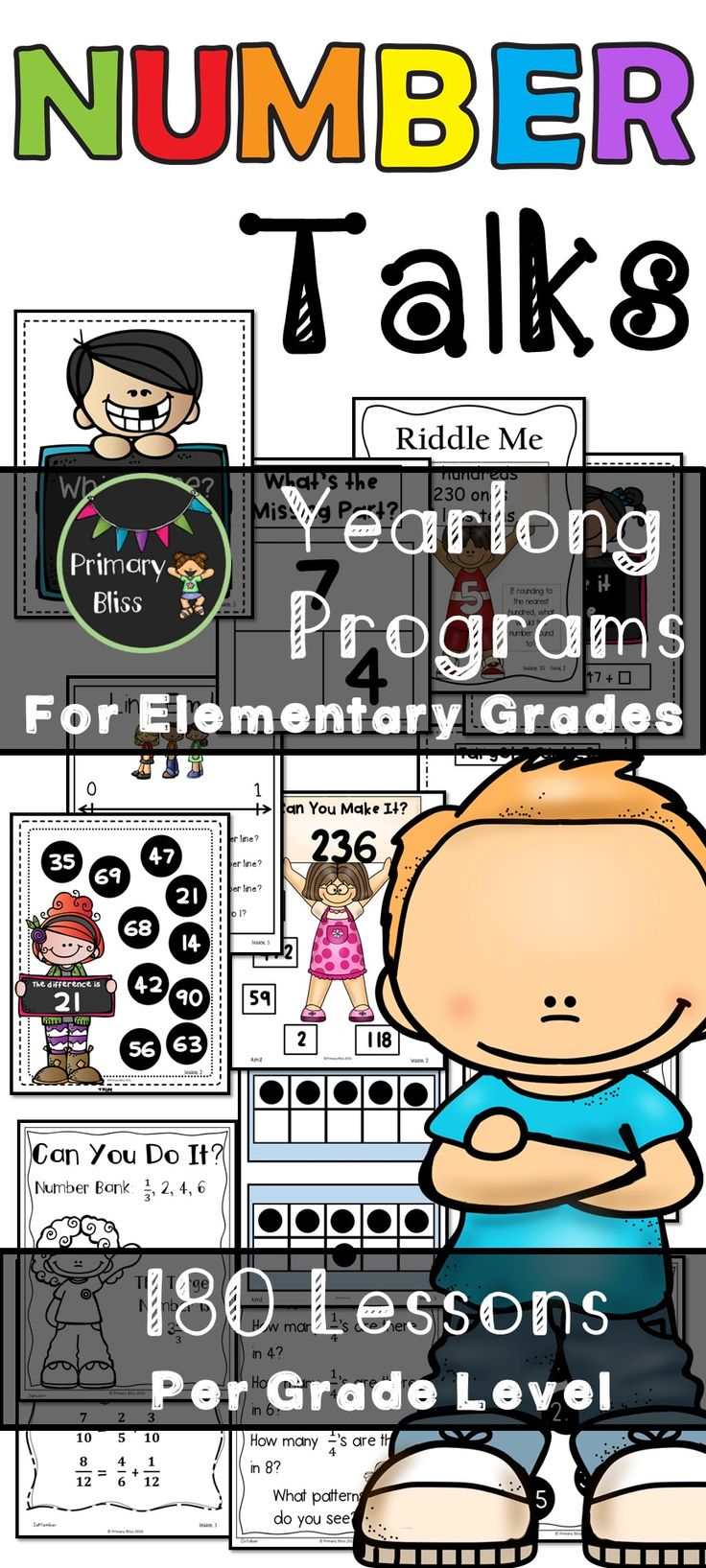 Math Number Talks for Grades K-5. If you are wanting to implement number talks into your elementary math instruction, look no further. We have created yearlong units for kindergarten, first grade, second grade, third grade, fourth grade and fifth grade. Click this pin to see the previews.