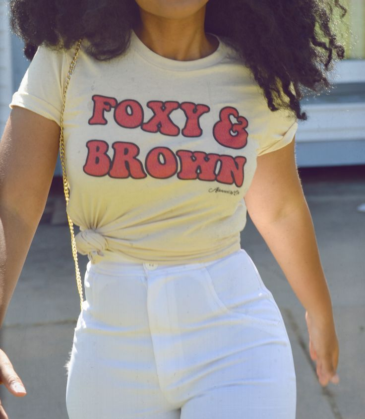 Inspired by The Get Down, wear this 70's inspired tee to let the world know you're Foxy and Brown! Please allow up to 10 business days for tees to arrive. Tees are made to order. The American Apparel