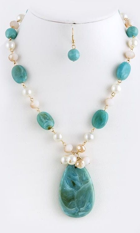 Turquoise Stone and Pearl Necklace and Earrings