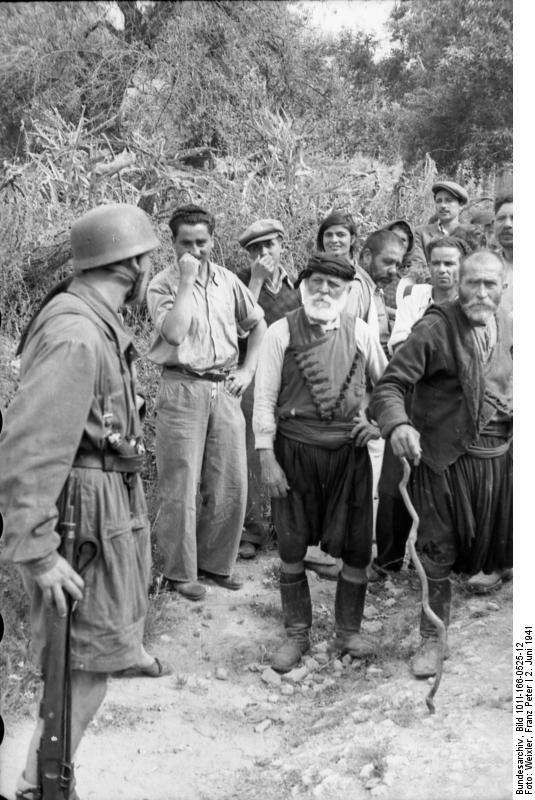 Nazis in Crete,WW2.Look the...look of the 2 cretan elders against the soldier