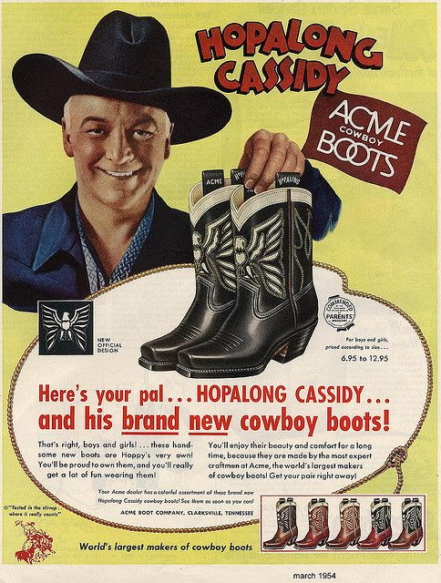 vintage boot ad with Hopalong Cassidy