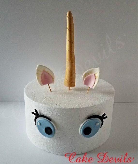 Unicorn Horn and Face Cake Topper Set, Fondant Unicorn ...