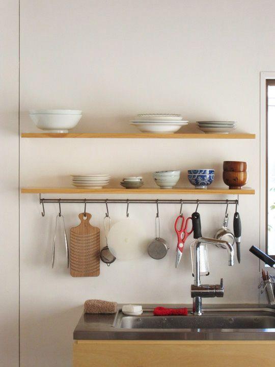 キッチン6☆DIYの作り付け棚 - まめのおうち紹介☆リノベーションで二 ... kitchenshelf1.jpg