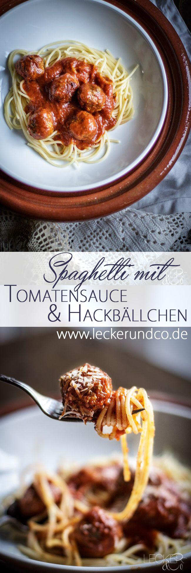 Spaghetti mit Hackbällchen und Tomatensauce