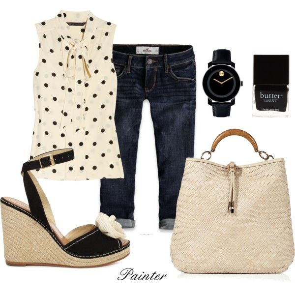 Polka dots: Summer Outfits With Capri, Summer Outfits Capri, Black Sandals, Black Capri Outfits, Cute Summer Outfits, Summer Capri Outfits, Denim Shorts, Outfits With Wedges Sandals, Polka Dots Outfits