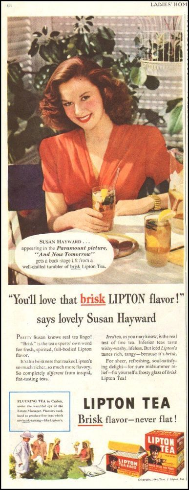 1944 WW2 era beverage AD LIPTON TEA , Ice Tea , SUSAN HAYWARD actress 040317