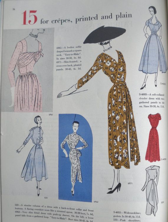 Vogue Pattern Book Spring 1950 Vintage Sewing Patterns