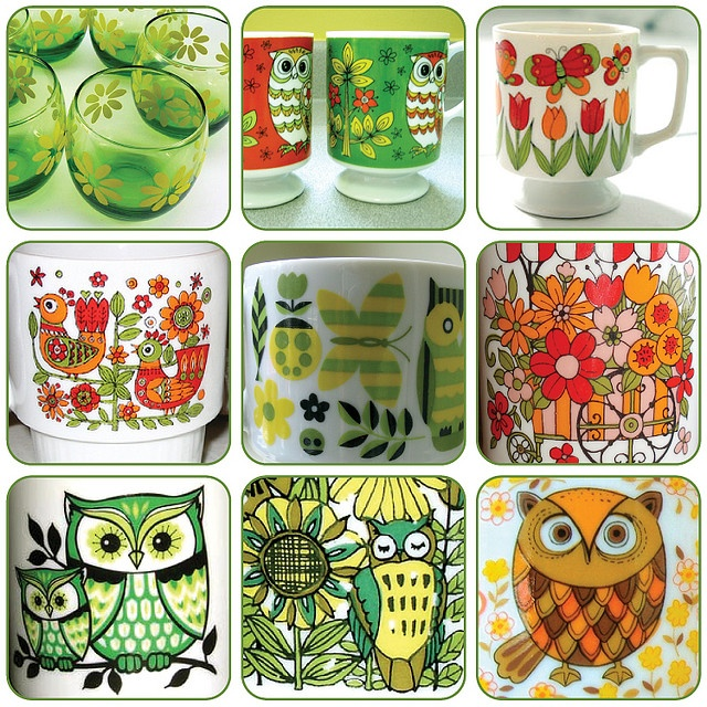 vintage owl and flower cups. ahh so colorful :) @Sarah Eltringham! Check these out!