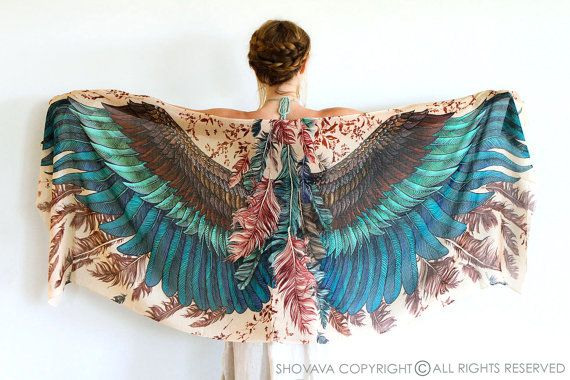 Wings scarf, bohemian bird feathers shawl, exotic, hand painted, digital print, sarong, perfect gift