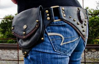 Steampunk Leather Hip Belt Bag with Stone Inlay