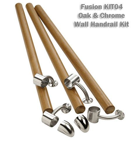 Best Fusion Oak Chrome Wall Handrail Kit Handrail Light 400 x 300
