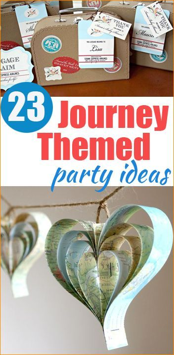 23 Journey Party Ideas.  Great theme for a bridal shower or birthday.  Celebrate someone special with a travel themed party.  Graduation party ideas.