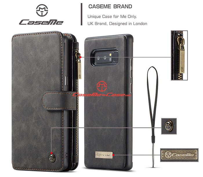 CaseMe Samsung Galaxy Note 8 Zipper Wallet Detachable 2 in 1 Flip Case