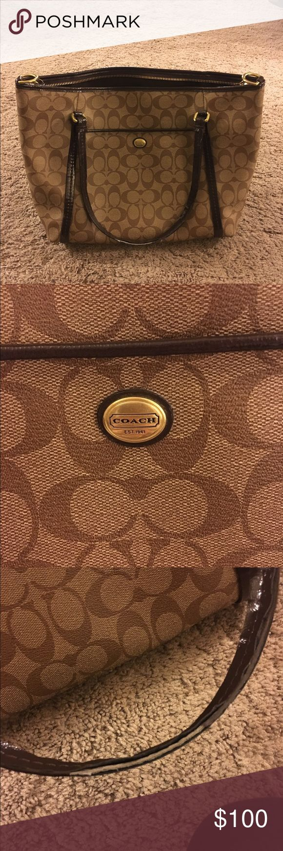 Authentic Coach Purse 👛 Authentic Bronze Coach Purse, it is in excellent shape and is very clean. The only thing that is not in perfect condition are the handles, they are a little beat up, but other than that mint condition. Coach Bags Totes