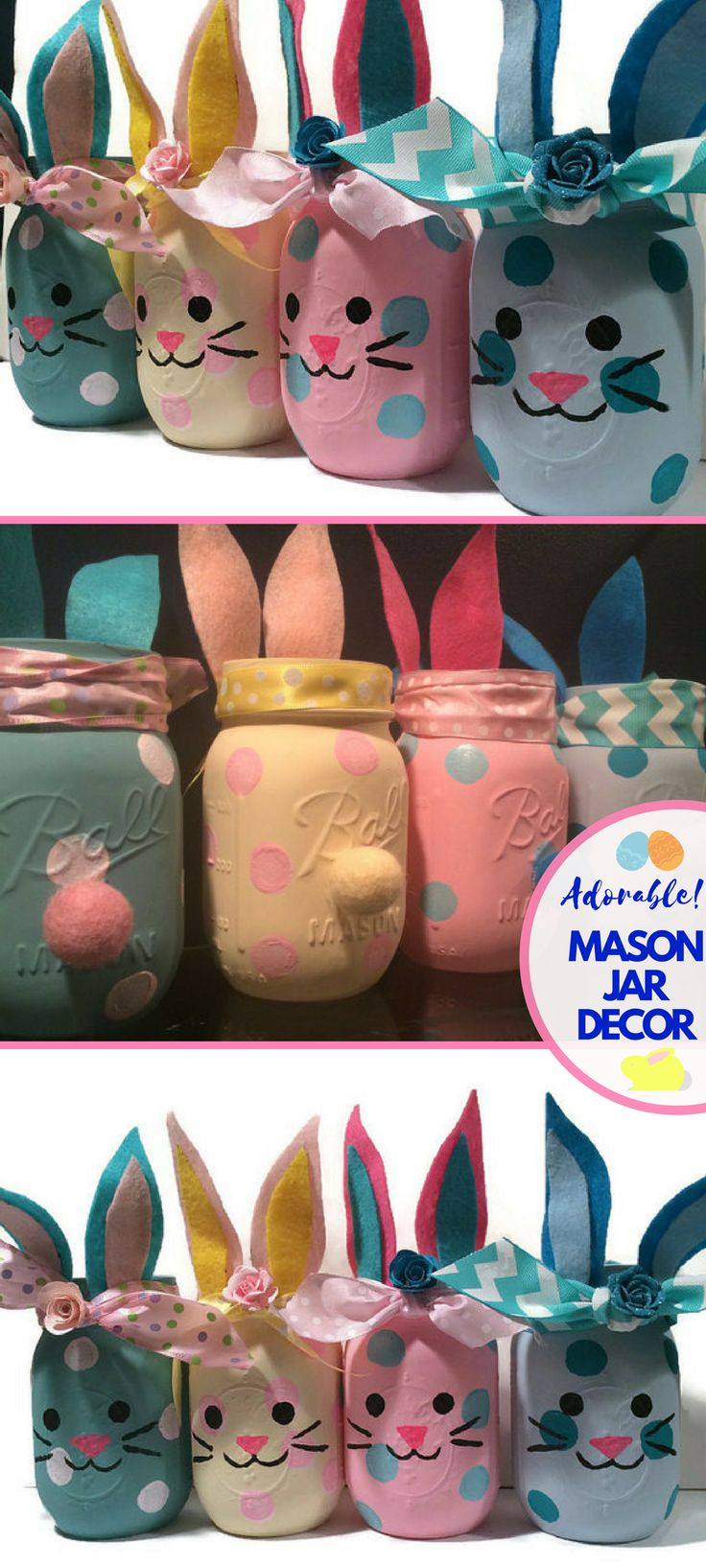 I absolutely love these adorable handpainted Easter Bunny Mason Jars.  The tails are so cute!  These would make great additions to our Easter Home Decor this year. Bunny mason jars, bunny jars, bunny home decor, bunny nursery decor, bunny baby shower decoration, bunny lover gift, bunny vase, Easter. #Ad #easter #masonjar #masonjarcrafts #DIY #Etsy #spring