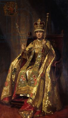 Portrait of H.M. King George VI in Coronation Robes, 1937 (oil on canvas) Queen Elizabeth's father.